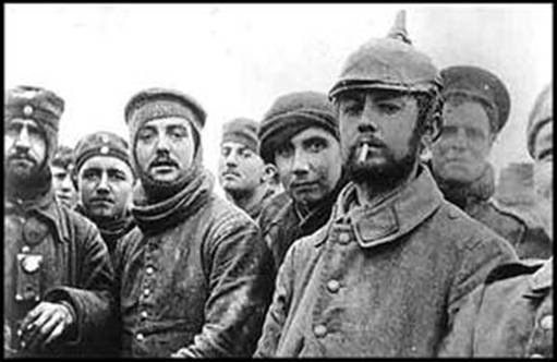Soldiers fraternize during the Christmas Truce of WWI